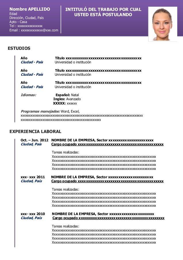 Nombre Apellido Intituló Del Trabajo Por Cualedad Curriculum Vitae Downloadable Resume Template Resume Template Word