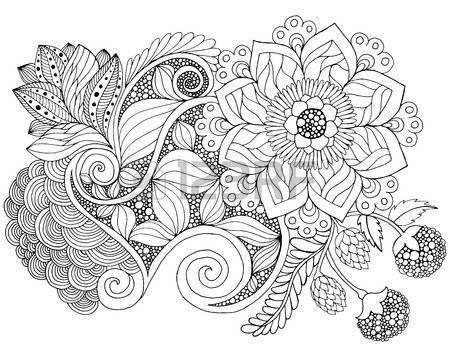 Fantasie Blumen Färbung Seite. Hand gezeichnet Doodle. Blumenmuster ...