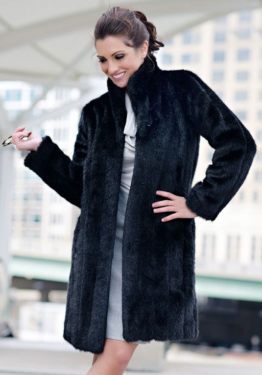 e58e95519b480 Black Mink Signature Knee-Length Faux Fur Coat | clothes in 2019 ...