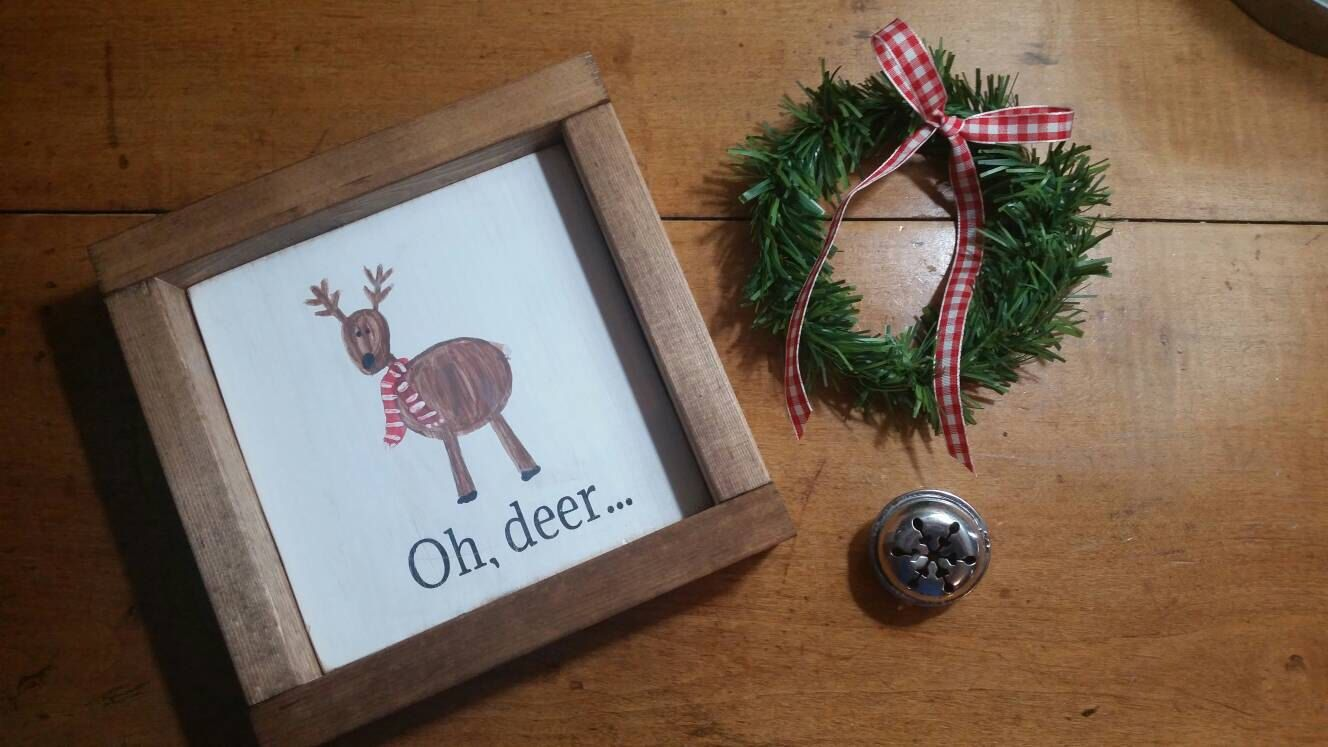 Rustic farmhouse inspired handpainted Oh deer wood framed sign by MyTRUSTEDTreasures on Etsy https://www.etsy.com/listing/488008193/rustic-farmhouse-inspired-handpainted-oh