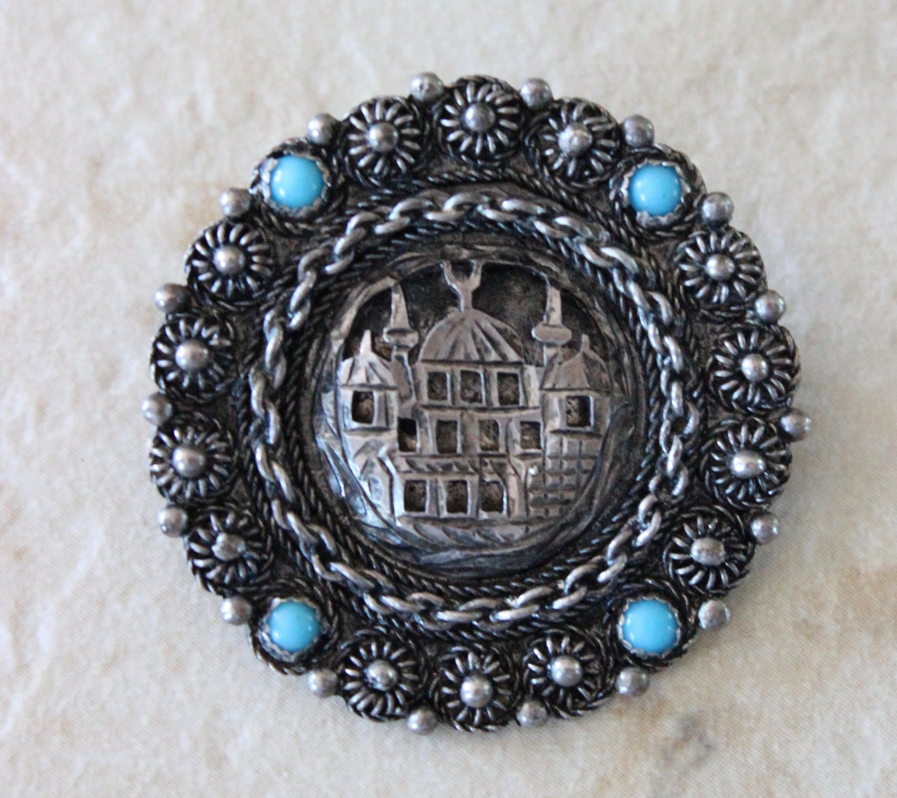 Vintage KETE 900 Sterling Silver Brooch Pin with Turquoise Stones by Calessabay on Etsy