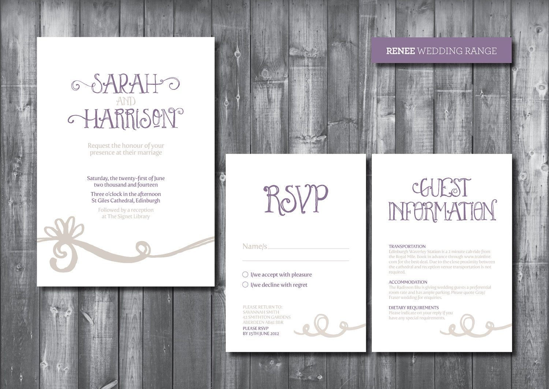 Wedding invitation suite digital printable file renee wedding
