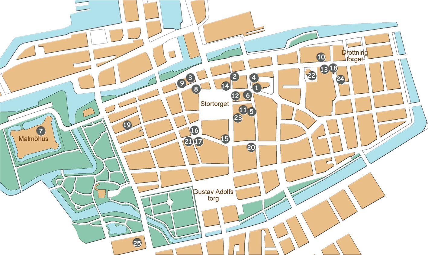 karta malmö centrum Sevärdheter i Malmö. Nummer hänvisar till texten | Malmö  karta malmö centrum