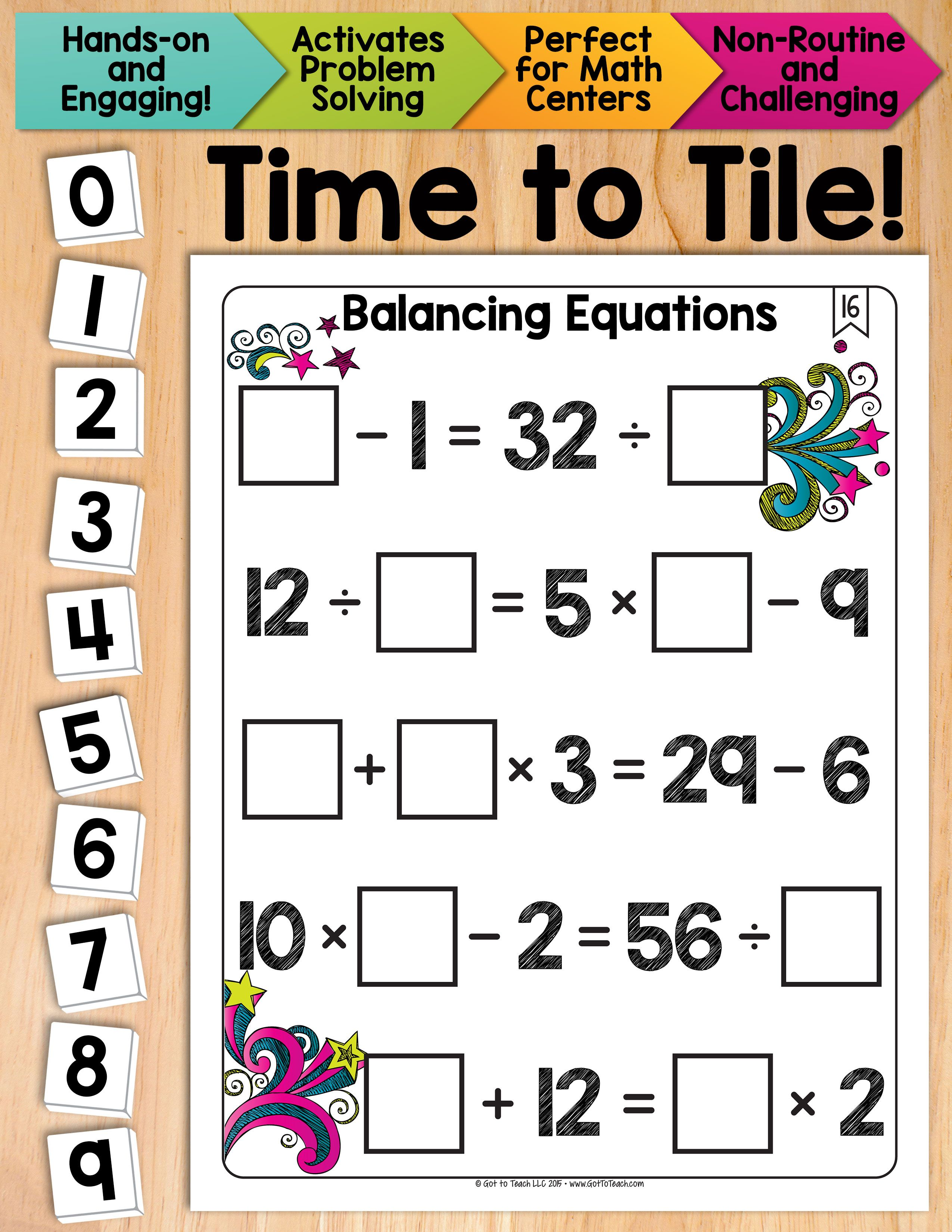 Math Tiles Balancing Equations Math Centers