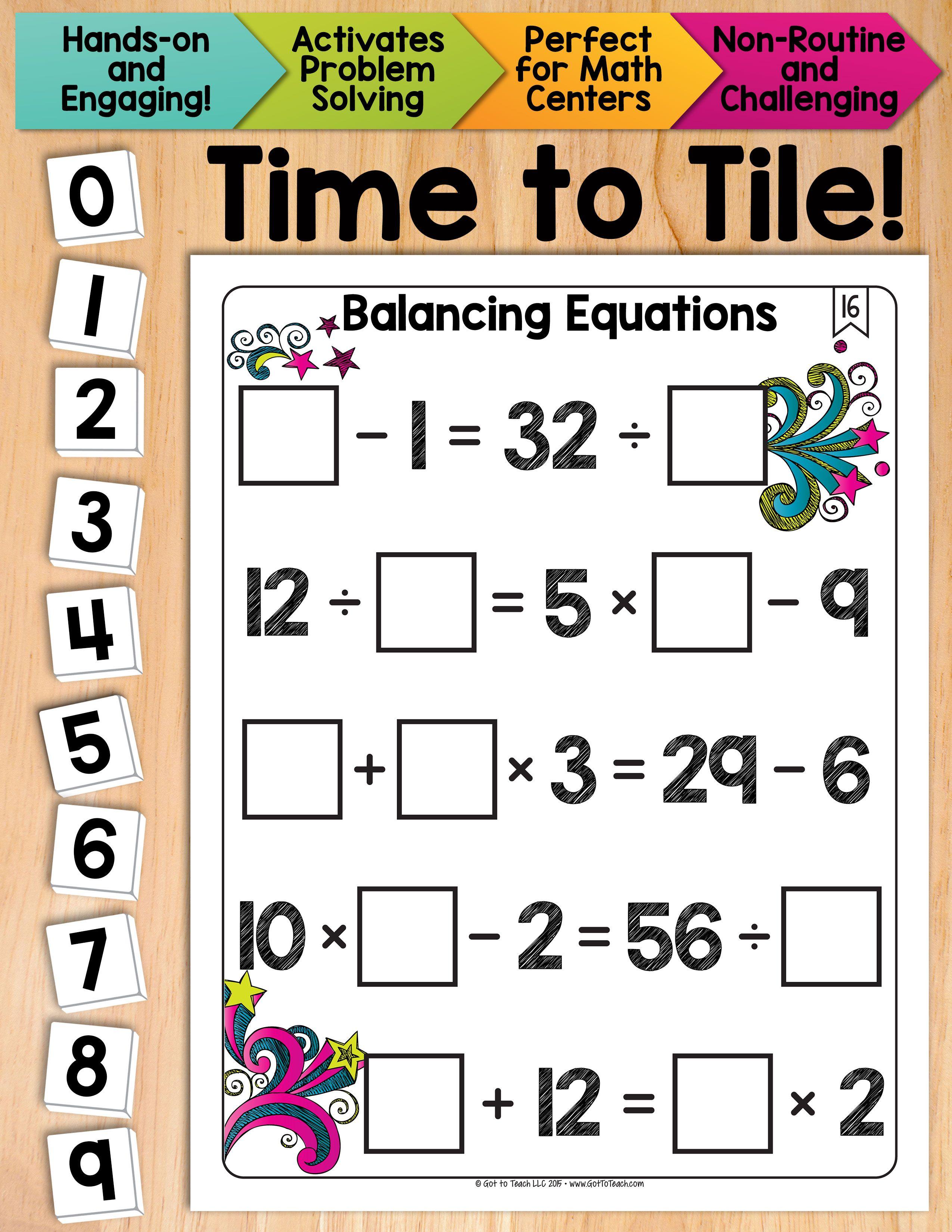 Math Tiles: Balancing Equations Math Centers | Equation, Math and ...