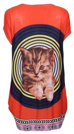 Orange Batwing Short Sleeve Circles Cat Print Oversized T-shirt - Sheinside.com