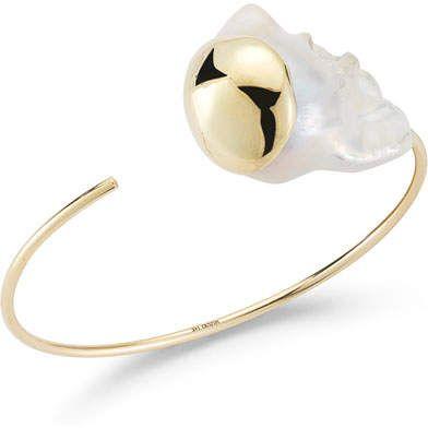 Mizuki Fluid Baroque Pearl Open Cuff Bracelet in 14K Gold OmPM586sS