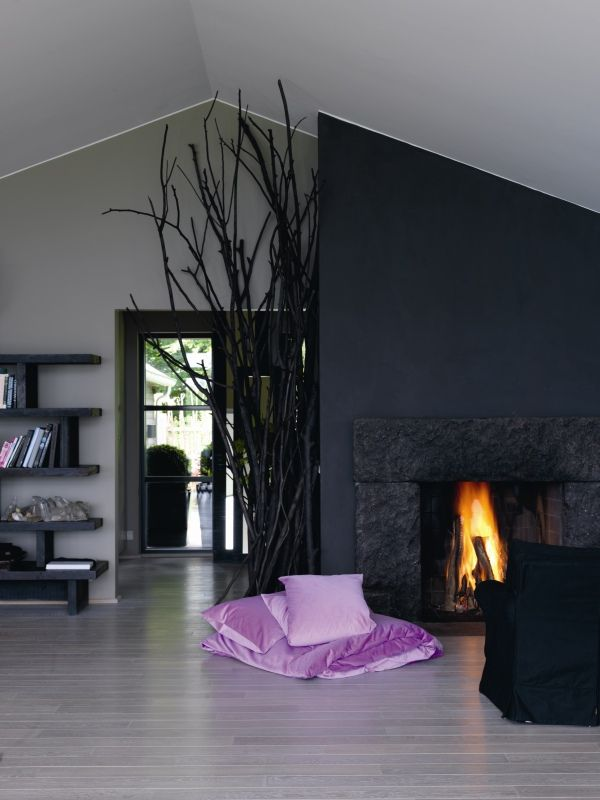 Dark Grey And Light Walls Lounge Room