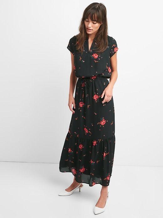 7cb2979446 Gap Womens Floral Short Sleeve Maxi Dress Black Floral