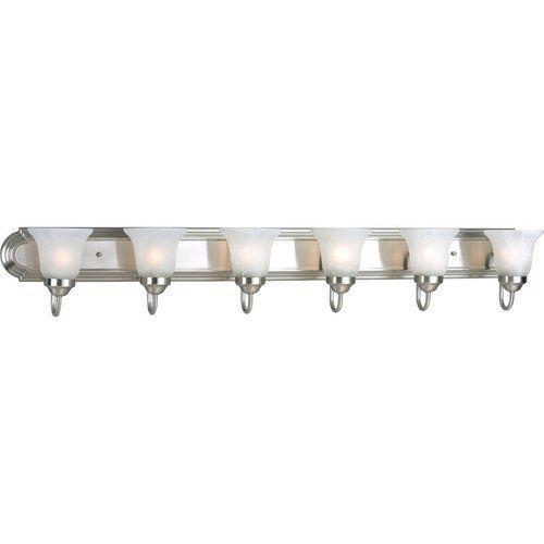 Photo of Progress Lighting Alabaster Glass 6 Light Bath Light – Brushed Nickel P3056-09