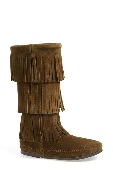 Free shipping and returns on Minnetonka 3-Layer Fringe Boot at Nordstrom.com. Three tiers of fringe cover the tall shaft of a flat suede boot, trimmed with whipstitching along the seams for subtle detail.