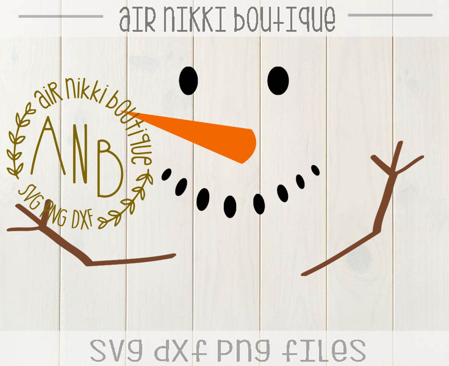 Snowman, eyes, mouth, nose, arms, SVG, DXF, PNG files