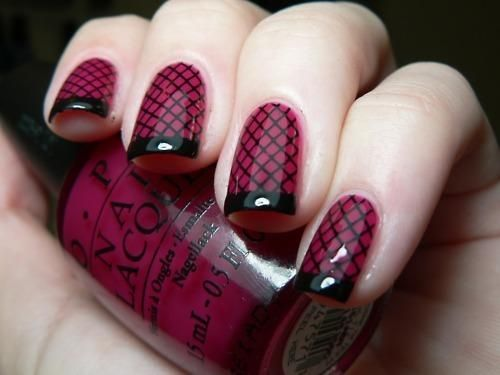 Love this deep wine with black tips manicure.
