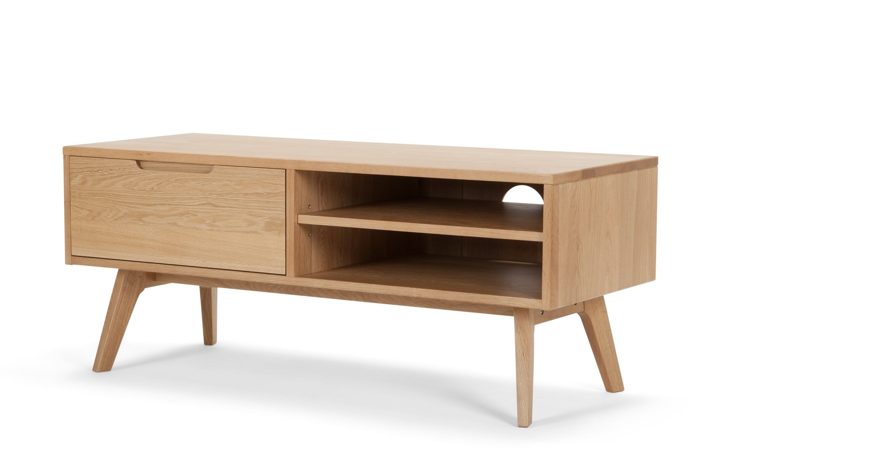 Schmales Lowboard Jenson Lowboard Eiche Home Again Media Unit Solid Oak Und