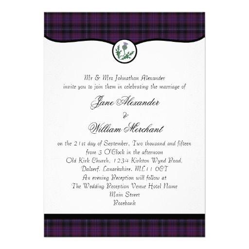 Scottish Purple Tartan Plaid & Thistle Wedding Personalized Invites