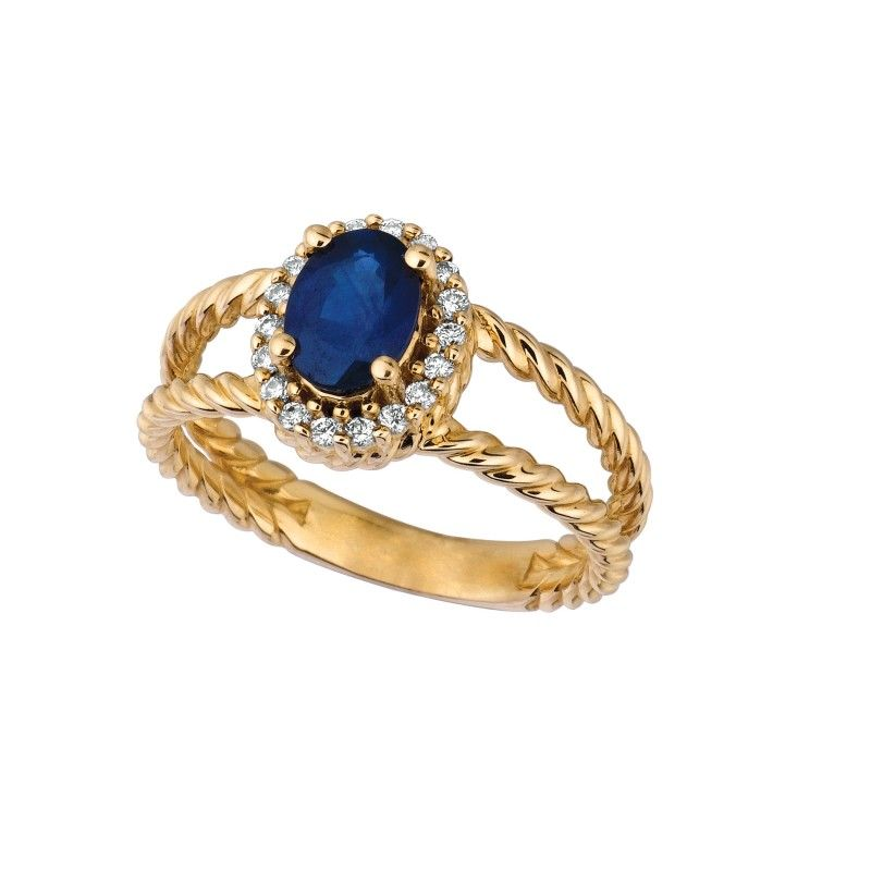 0.16 ct G-H SI2 Sapphire & diamond oval ring In 14K Yellow Gold R6692YS - Gemstone Rings - Rings & Bands - Fine Jewelry