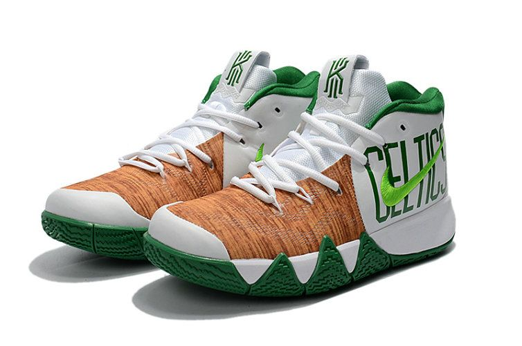hot sales 3c022 c1f0f Popular 2018 Nike Kyrie 4 Celtics White Green-Brown Mens Basketball Shoes  2018 For Sale