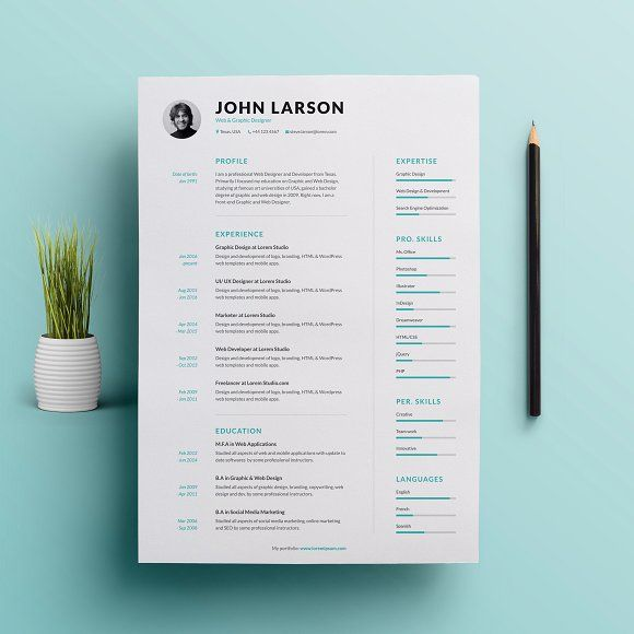 Clean Resume by GraphicaShop on @Graphicsauthor Resume CV - clean resume design