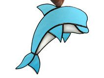 Stained Glass Sky Blue Dolphin Art Decoration