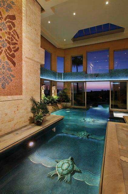 Indoor Pool With An Outdoor Pool Connected Luxury