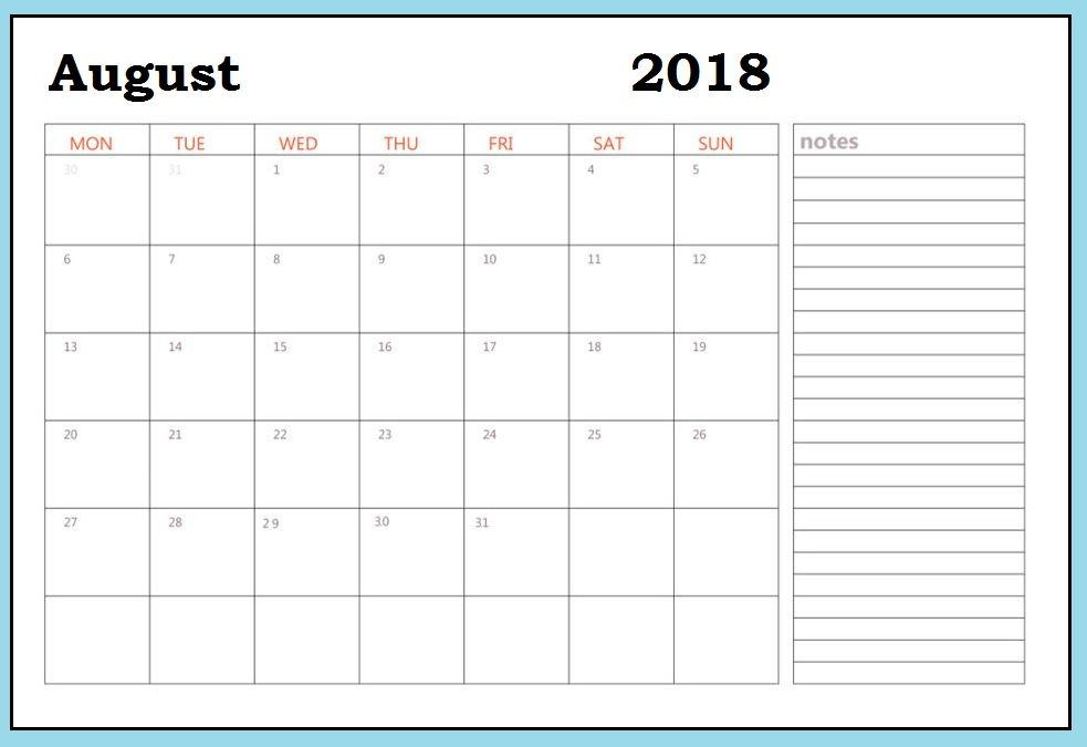 August 2018 Calendar Word With Notes August 2018 Printable