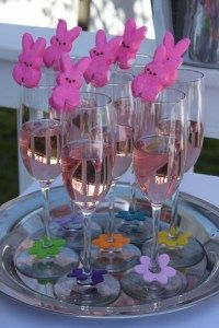 Pink champagne with a Peep garnish. Could do this with any holiday. They have pumpkin peeps, Christmas tree peeps, etc.