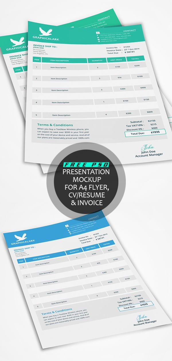 free psd presentation mockup for a4 flyer cv resume invoice