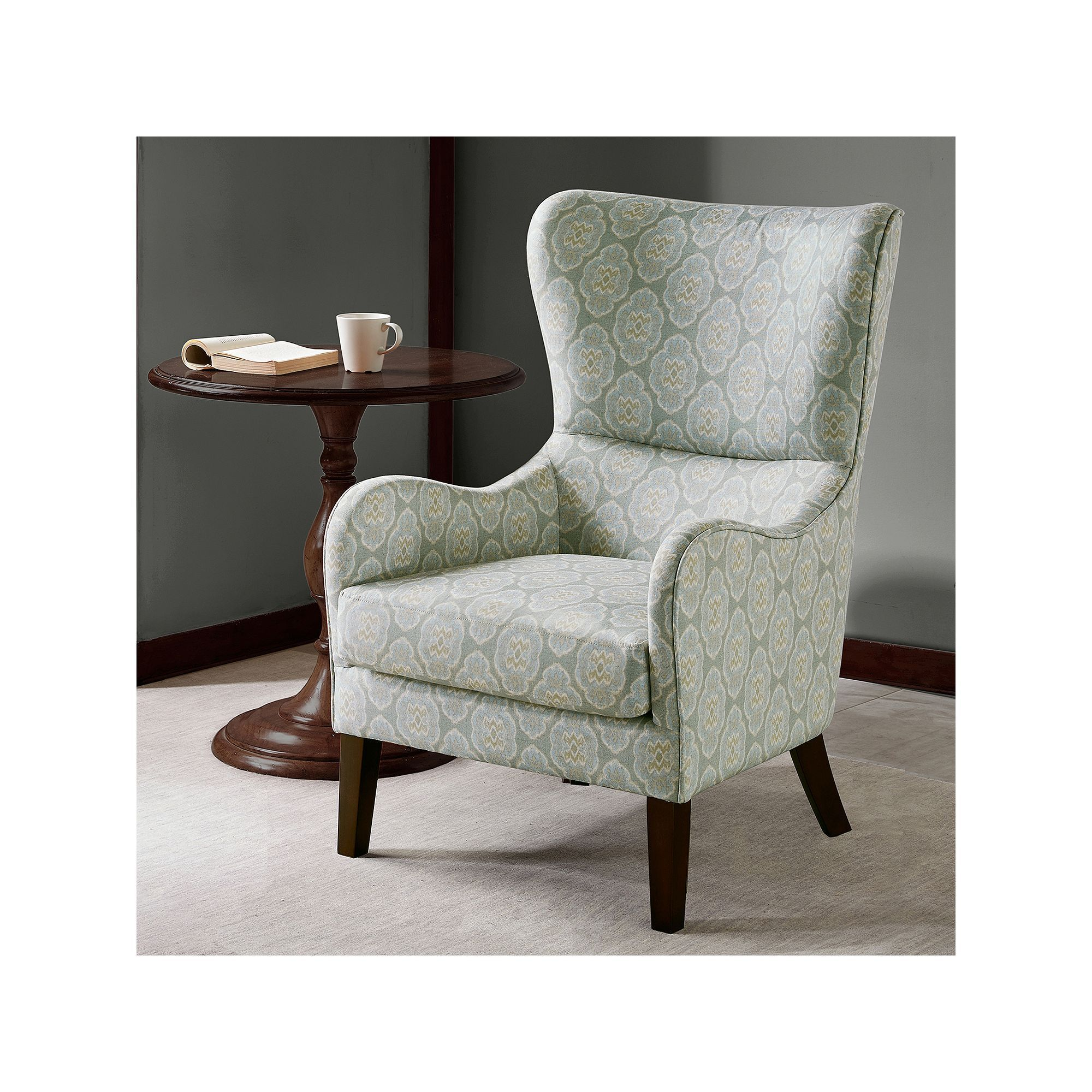 Best Ink Ivy Leda Swoop Wing Back Accent Chair Blue Blue 400 x 300