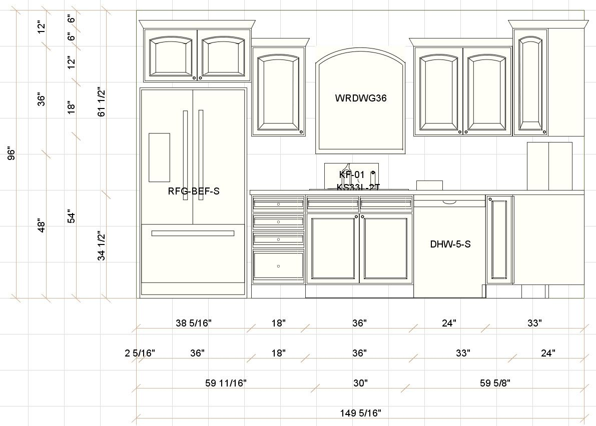 Interior design living room dimensions from kitchen for Kitchen cabinet layout design