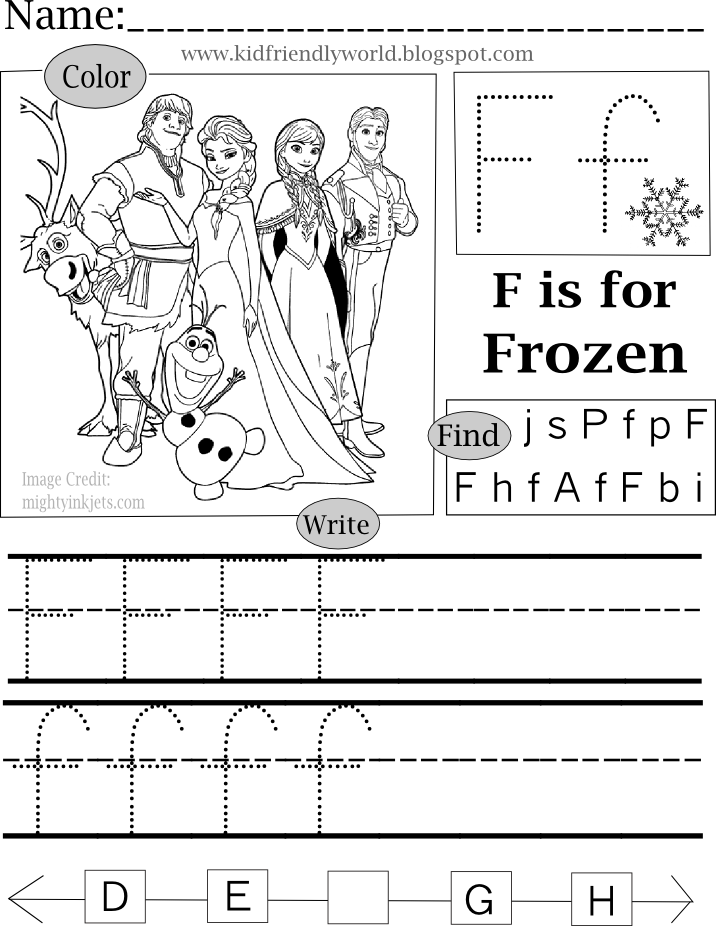 A Kid Friendly World F Is For Frozen Frozen Coloring Pages Frozen Activities Coloring For Kids