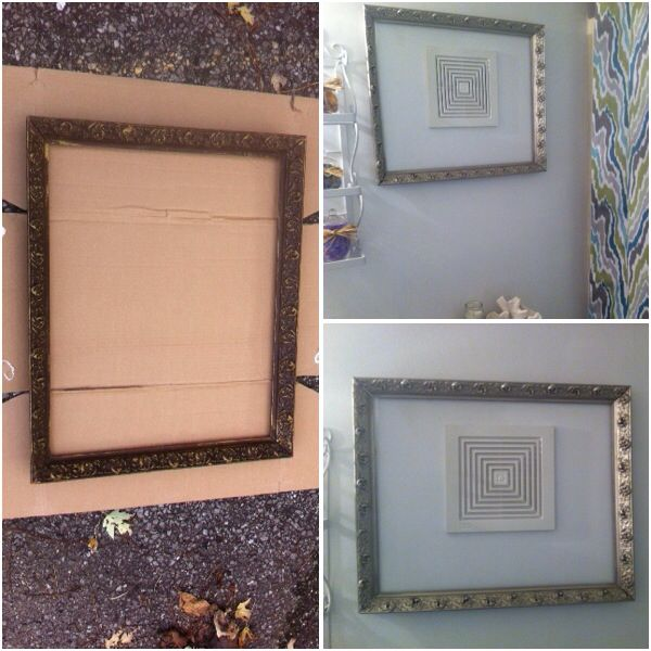 $0.25 wooden frame (yard sale find) spray painted brushed nickel. Placed it around the wall vent in my bathroom to distract the eye.