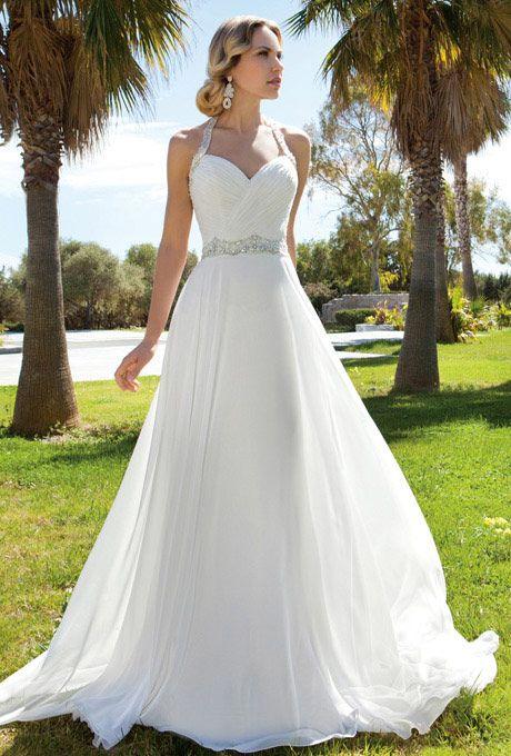 Brides Demetrios Destination Romance Chiffon A Line Halter
