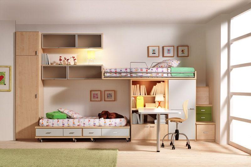 R67 cama alta y cama rodante armario bilblioteca y for Muebles juveniles a medida barcelona