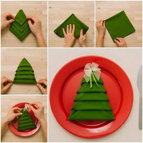 Comment plier une serviette de table en joli sapin de no l diy christmas pinterest - Joli sapin de noel ...