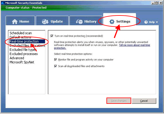 How do I turn off Microsoft Security Essentials (With