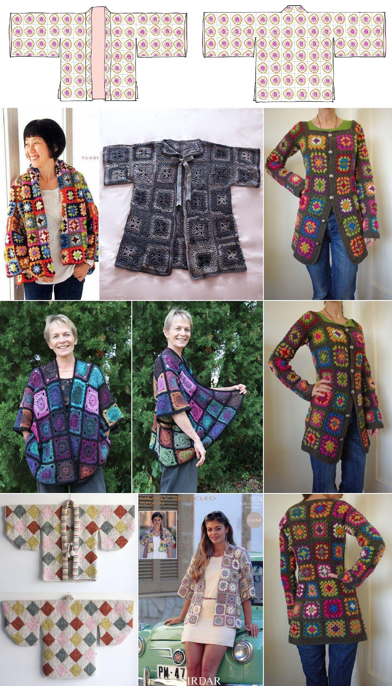 Granny Square Haoiri Kimono Coatjacket Crafts Crochet