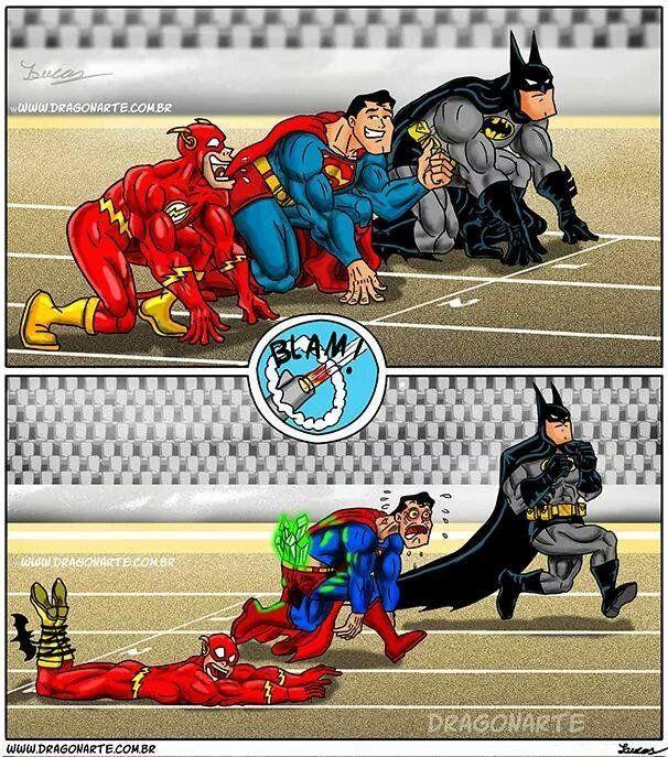 Batman Flash Superman Race Con Imagenes Comics Graciosos