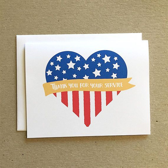 Patriotic Card Thank You For Your Service Veterans Day Cards