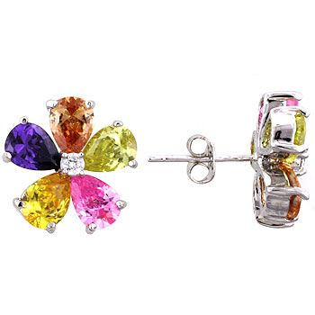 Jewelry Stud Earrings Silvertone Multicolor Cubic Zirconia and Crystal Flower $22.95