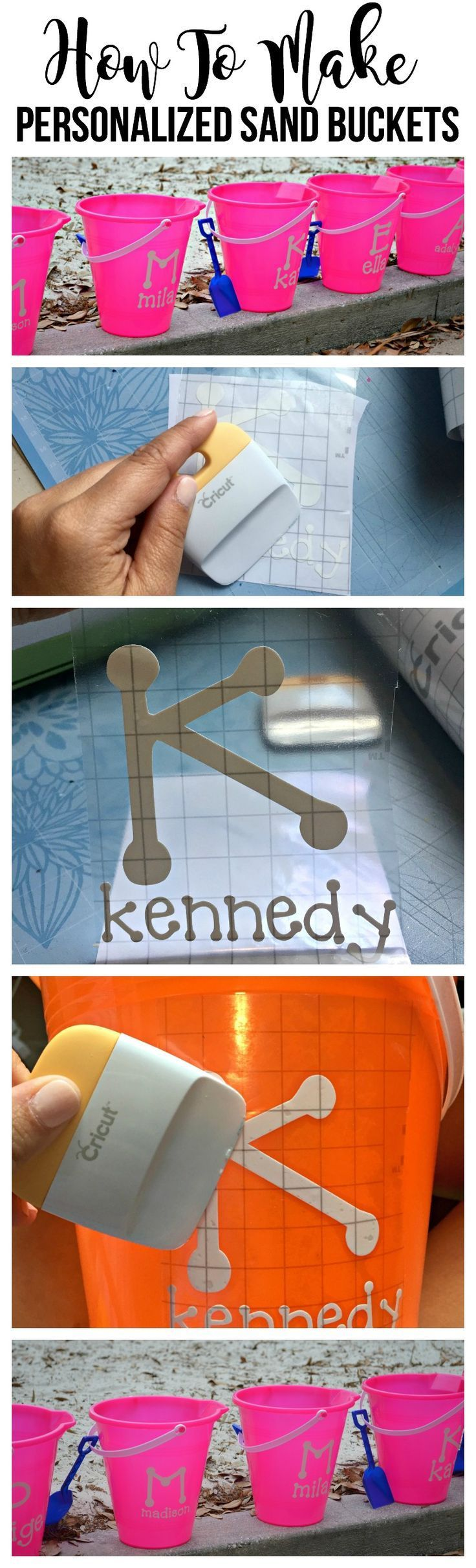 How to make personalized name sand buckets using cricut