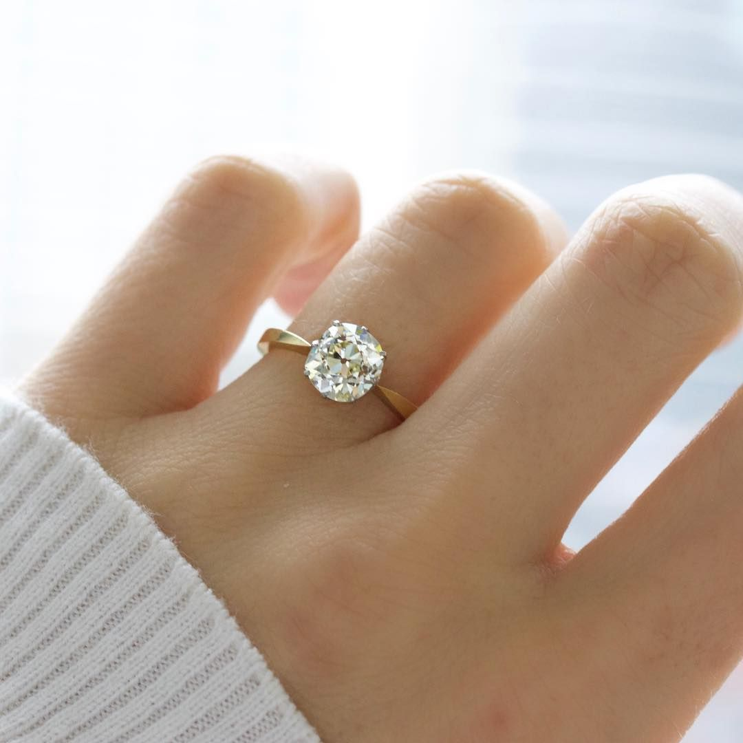 Old european cut elegant diamond solitaire ring in platinum and 18k - Solitaire Diamond Yellow Gold Engagement Ring The Brooklyn Ring Is A Late Victorian Engagement Ring Circa This Classic Solitaire Centers A Ct Old Mine Cut