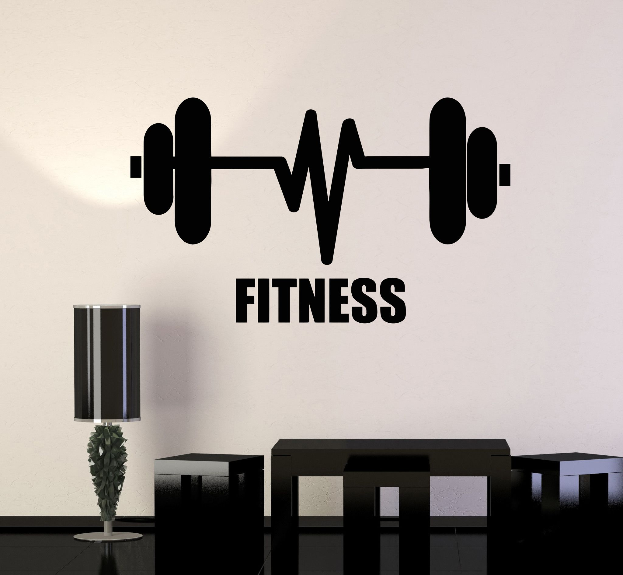 Huge Home Gym With Red Walls Home Gym Ideas: Vinyl Wall Decal Fitness Barbell Bodybuilding Sports Gym