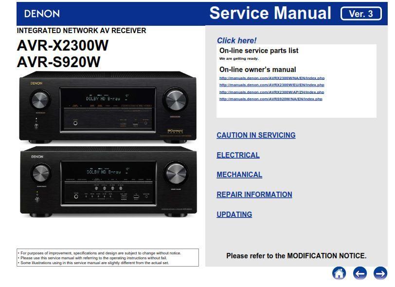 Denon AVR S920W X2300W service manual and repair