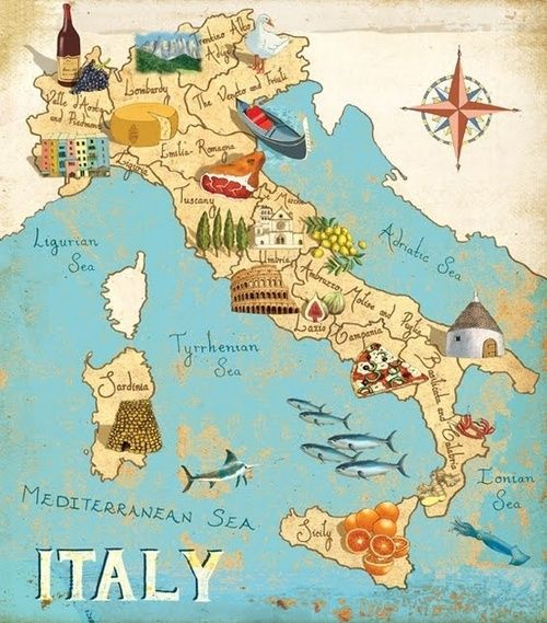 Lo Stivale With Images Italy Map Italy Illustrated Map