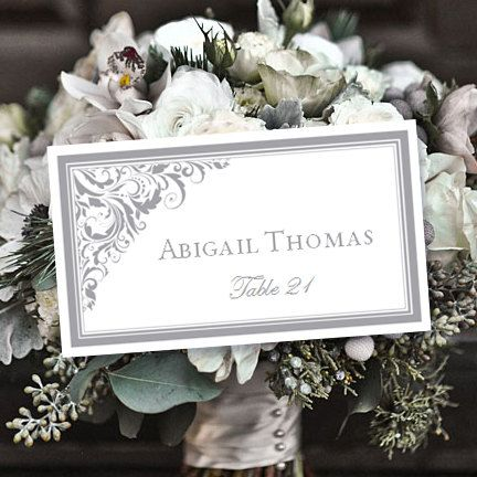 Place Card Printable Template Brooklyn Gray Avery 5302 Compatible Editable Word Doc Tent Card Instant Download All Tent Cards Template Printable Place Cards