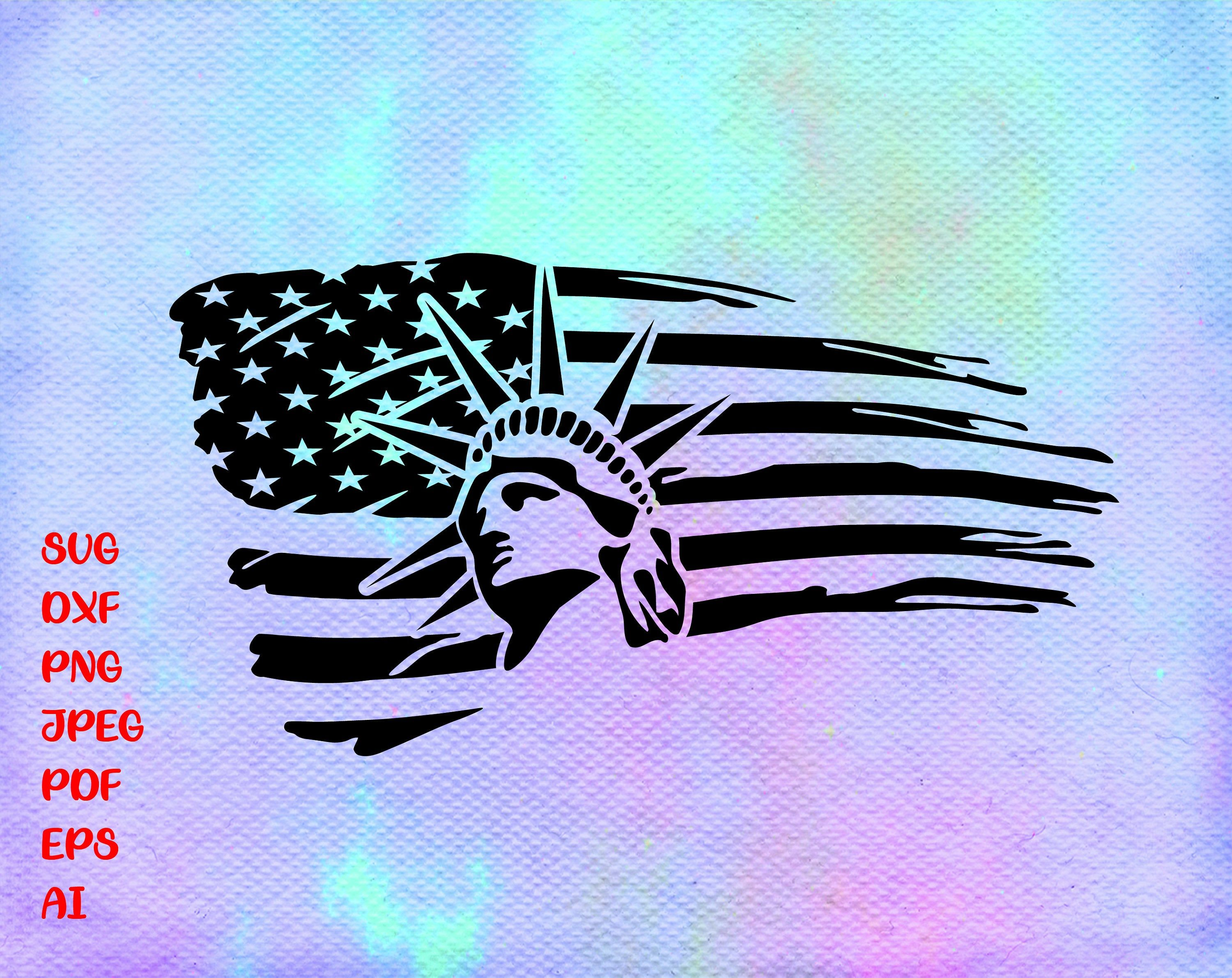 Statue Of Liberty Usa Flag Silhouette Vector Clipart