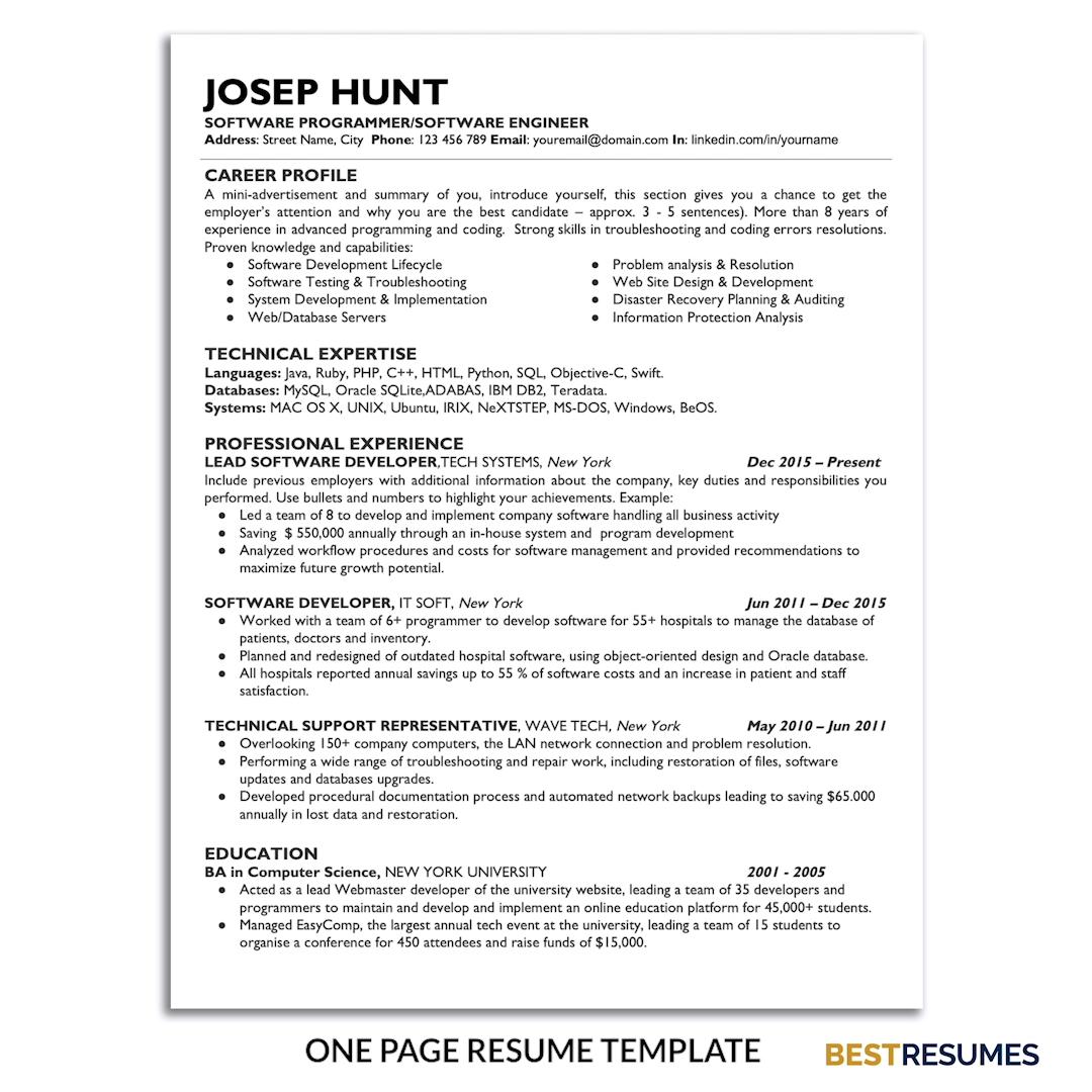 Technical Resume Template Joseph Hunt Bestresumes Info Video Video Resume Template One Page Resume Template Job Resume Template