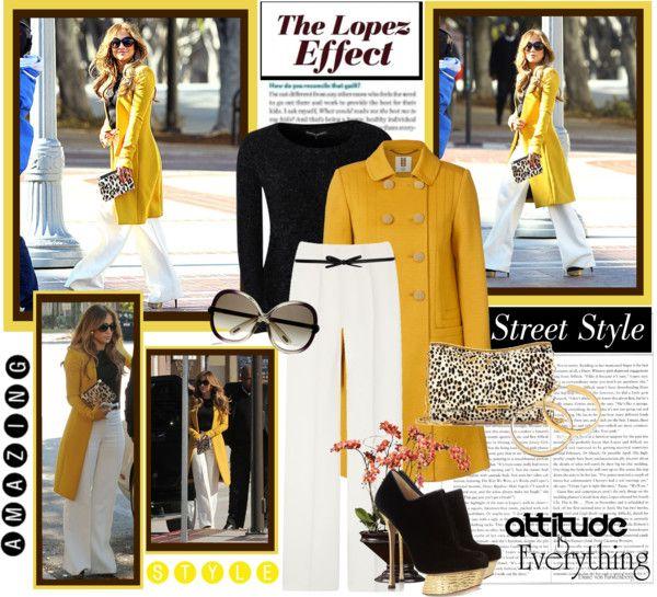"""Street Style: Jennifer Lopez"" by xxofashionforwardxxo ❤ liked on Polyvore"
