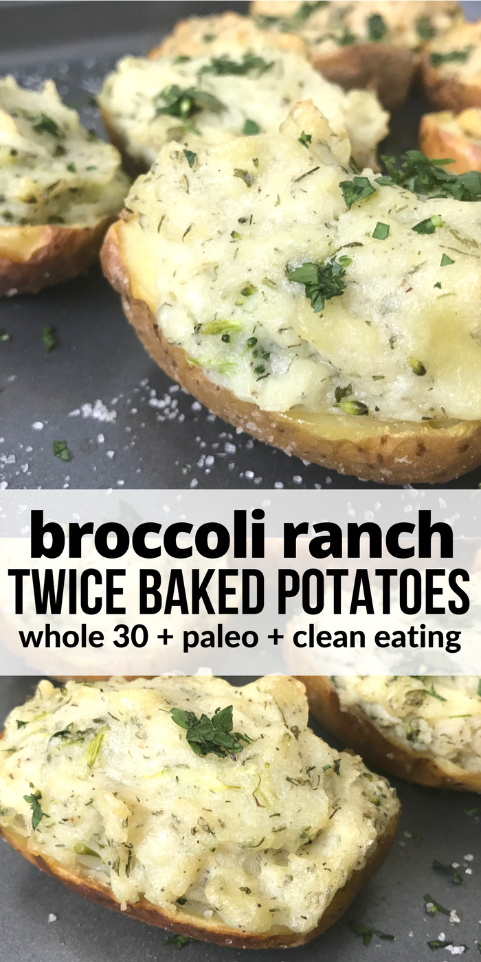 Ranch Twice Baked Potatoes These broccoli ranch twice baked potatoes have a crispy salty skin and are filled with creamy ranch mashed potatoes! Plus they're perfect for a Whole 30, Paleo, clean eating, or dairy free lifestyle!These broccoli ranch twice baked potatoes have a crispy salty skin and are filled with creamy ranch mashed potatoes! Plus they're perfec...