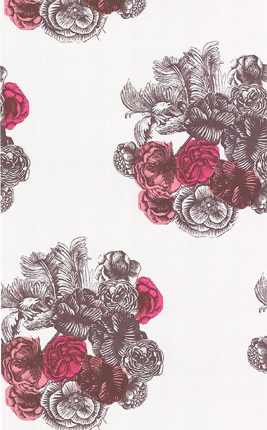 Peonie Wallpaper Bubbly bouquets of Peonie, originally adorning a 1940's silk scarf, recoloured in contemporary colours. Silver lustre and pinks